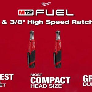 "Milwaukee M12 1/4"" & 3/8"" Fuel High Speed Ratchets"