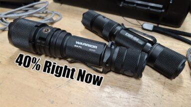 40% Off Powertac Warrior G4 Wide beam Vs E9R-G4 LED Flashlight Review